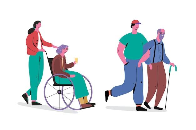 Jovens cuidando e ajudando os anciãos