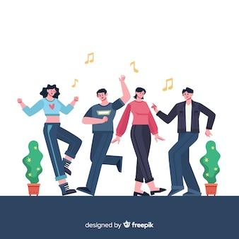Jovens dançando. design de personagem