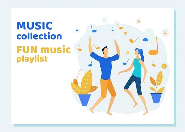 Jovens dançando e ouvindo a lista de reprodução de música divertida