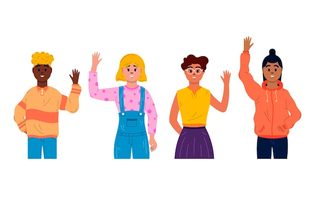 Jovens de design plano acenando conjunto de mão