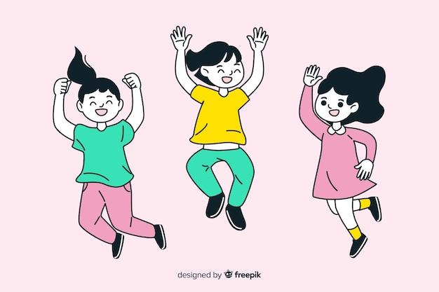 Jovens de design plano pulando