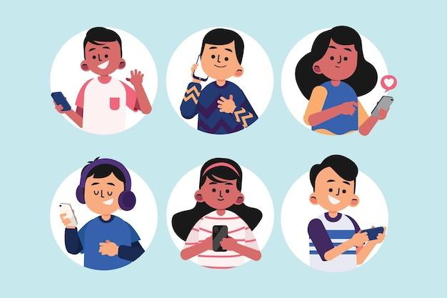Jovens desenhados à mão plana usando ilustração de smartphones