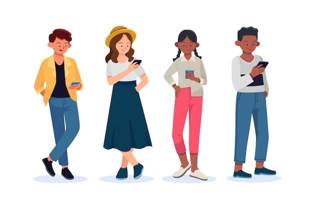 Jovens desenhados à mão plana usando smartphones