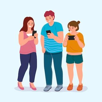Jovens desenhados à mão usando smartphones