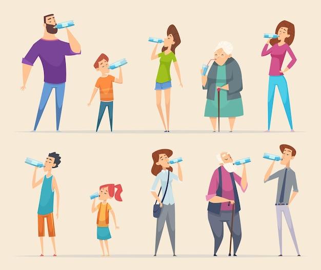 Jovens do sexo masculino feminino e crianças comendo água natural saudável, refrescando personagens da vida