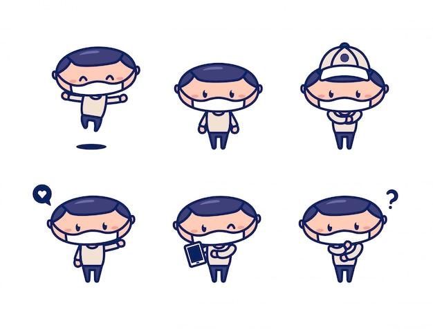 Jovens do sexo masculino personagem mascote estilo bonito usar máscara facial e desgaste de camisola casual