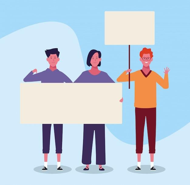 Jovens dos desenhos animados, protestando com letreiro em branco sobre fundo azul