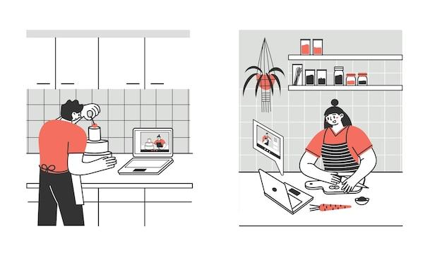 Jovens e adultos preparam comida em casa via laptop ou tablet.