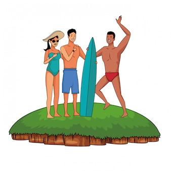 Jovens e cartoons de verão