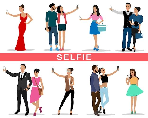 Jovens e casais da moda fazendo selfie.