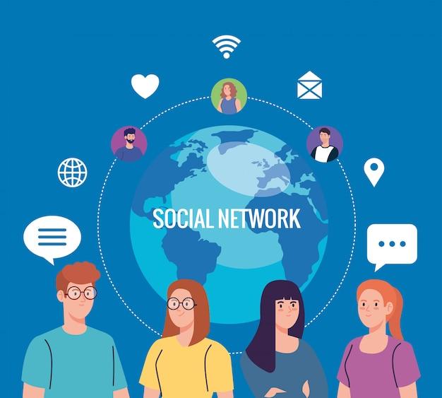 Jovens e comunidade de rede social, conceito interativo, de comunicação e global