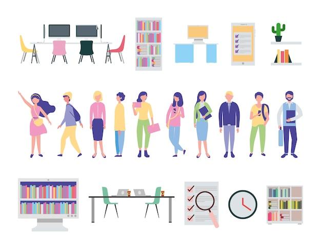 Jovens e ícones de equipamento de escritório