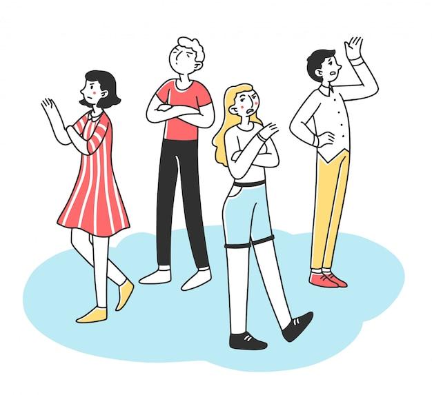 Jovens egoístas com comportamento arrogante e irado