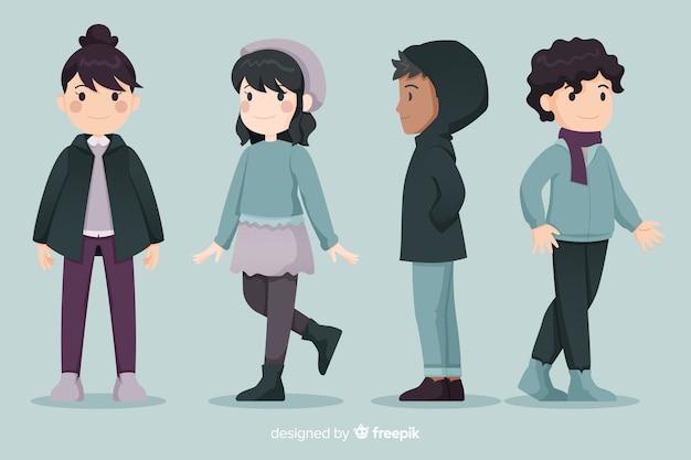 Jovens em roupas de inverno