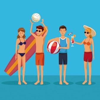 Jovens, em, terno de natação, verão, desenhos animados