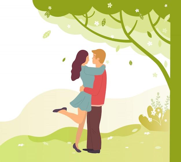 Jovens embaraçosos na ilustração spring park