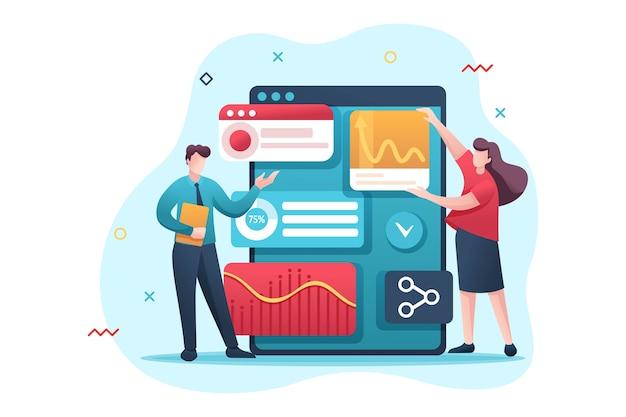 Jovens empreendedores revisam relatórios e analisam dados