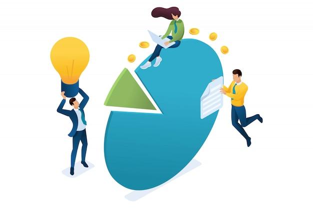 Jovens empreendedores trabalham com gráficos e diagramas de lucro. conceito de trabalho em equipe.