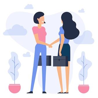 Jovens empresárias apertando as mãos negócios de design plano comunicando-se com personagens de animação prontos para compor suas cenas e animação trabalho de escritório e ilustração criativa de trabalho em equipe de negócios