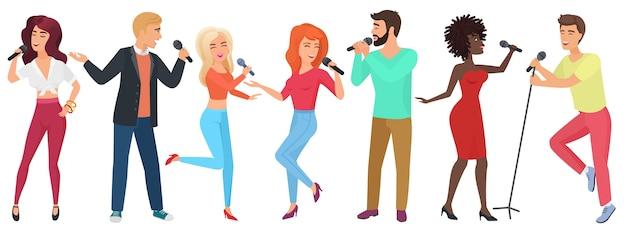 Jovens estrelas com microfones cantando e dançando. garotas e garotos se divertem no karaokê.