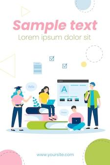Jovens estudantes aprendendo idiomas online ilustração plana