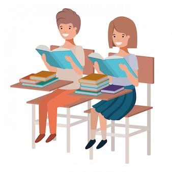 Jovens, estudantes, leitura, em, escrivaninha escolar