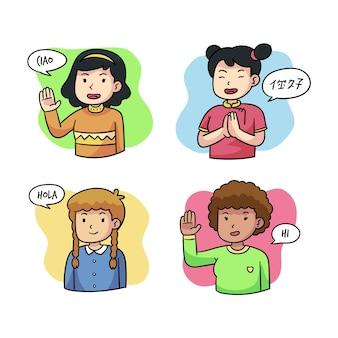Jovens falando em diferentes idiomas