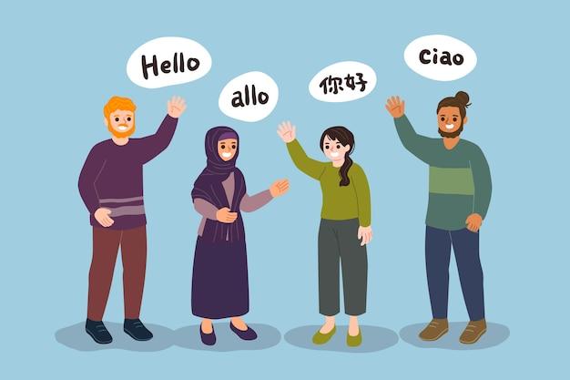 Jovens falando na coleção de diferentes idiomas