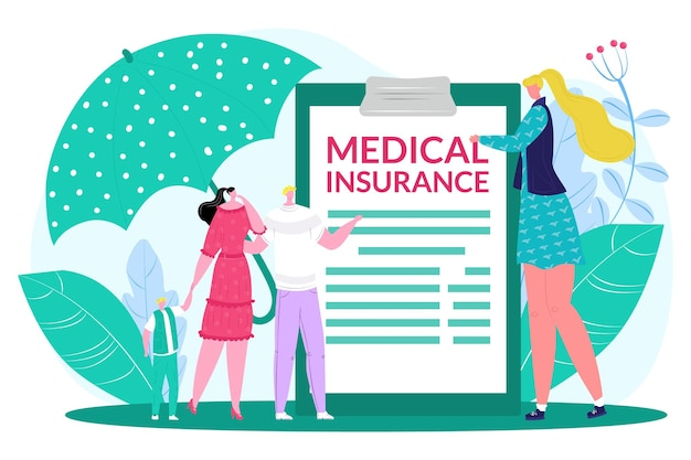 Jovens família adorável casal minúsculo personagem juntos aplique o vetor plano de seguro de saúde médico ...