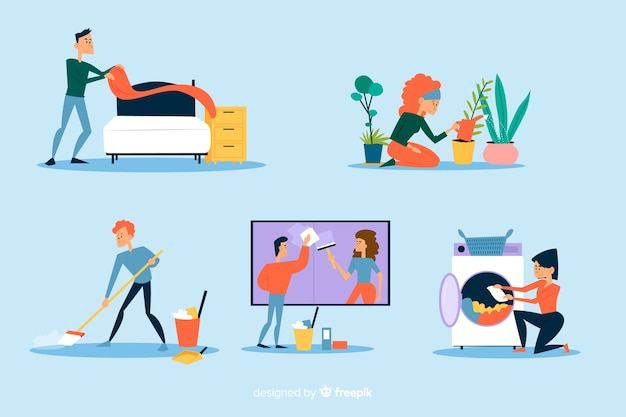 Jovens, fazendo, housework