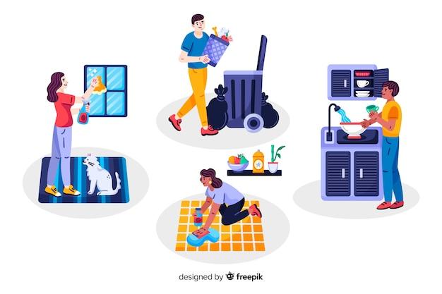 Jovens fazendo tarefas domésticas em sua casa