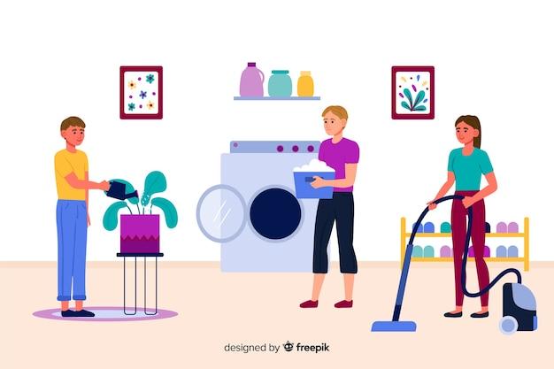 Jovens fazendo tarefas domésticas juntos
