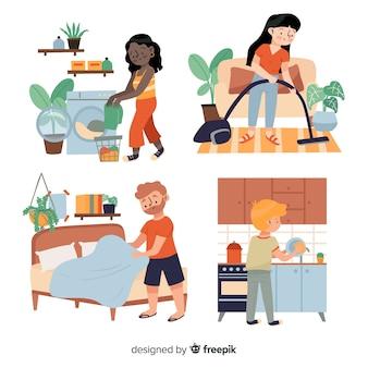 Jovens fazendo trabalhos domésticos