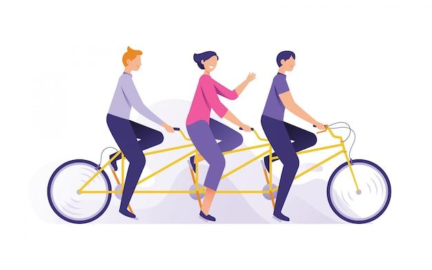 Jovens felizes andando de bicicleta juntos