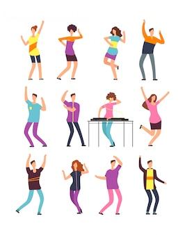Jovens felizes dançando. dançarinos de desenhos animados de homem e mulher isolados