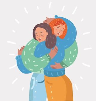 Jovens felizes se abraçam, mulher, amizade