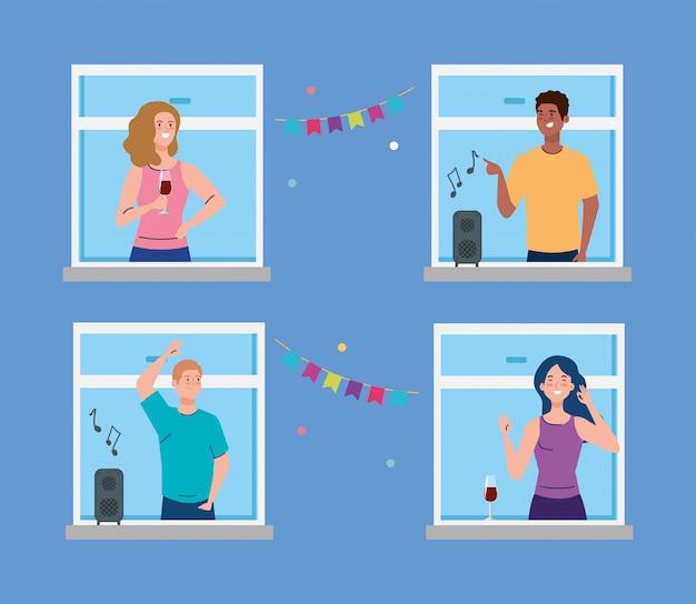 Jovens, festa na janela, conceito de distanciamento social