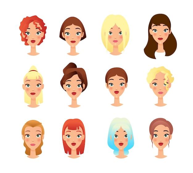 Jovens garotas rostos conjunto de ilustrações planas. pacote de personagens femininos dos desenhos animados. conceito de mudança de aparência na moda. retratos de pessoas, coleção de cliparts em fundo branco desenho isolado