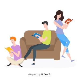 Jovens gastando tempo lendo