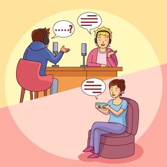 Jovens gravando ou ouvindo podcasts