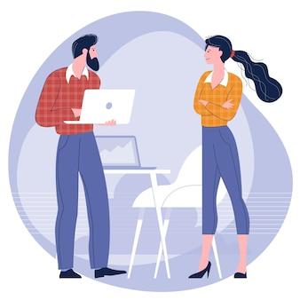 Jovens, homem e mulher participam de reunião de negócios no escritório