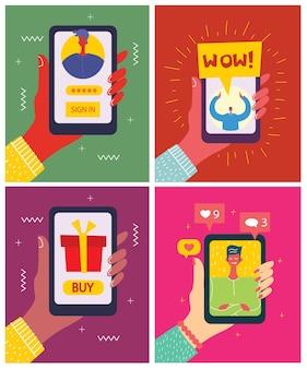 Jovens, homem e mulher, usando tecnologia gadget smartphone celular tablet pc laptop em rede social conceito de comunicação design plano estilo de desenho animado com copyspace