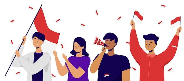 Jovens indonésios comemorando o dia do juramento da juventude na indonésia.