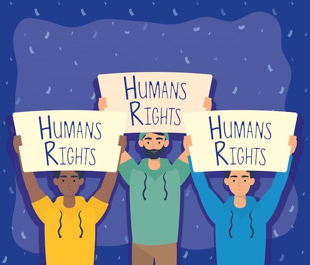 Jovens inter-raciais com direitos humanos rotular projeto de ilustração vetorial