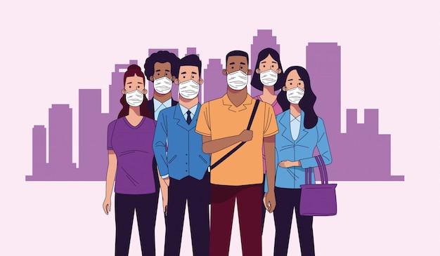 Jovens inter-raciais, vestindo personagens de máscaras médicas