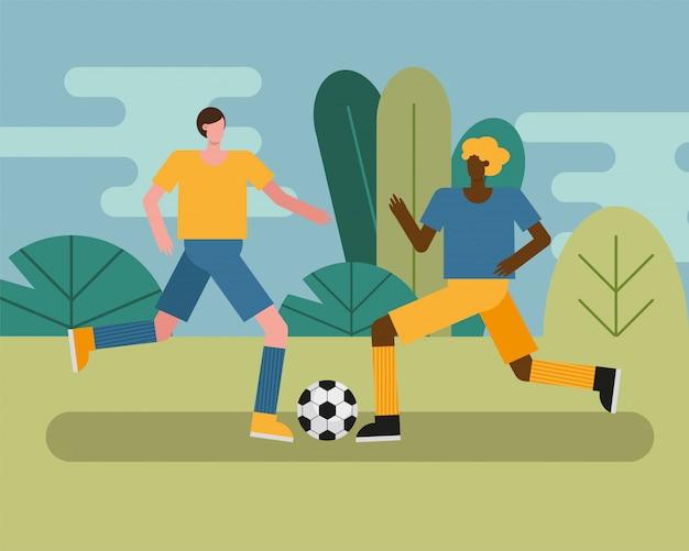 Jovens jogando futebol praticando caracteres de atividade