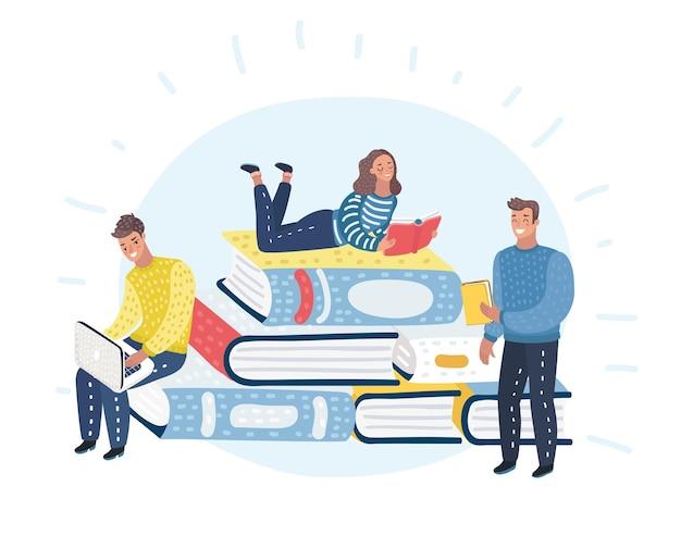 Jovens leitores vestidos e pilha de livros gigantes. leitura fãs de literatura