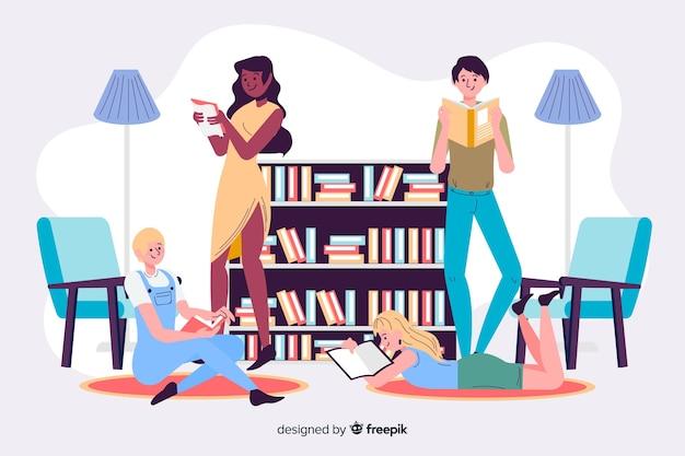 Jovens, leitura, junto