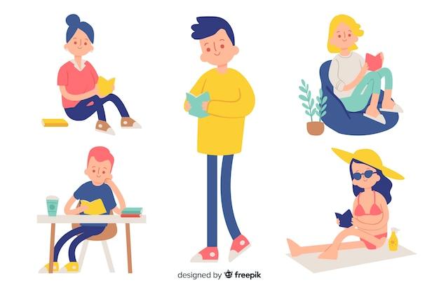 Jovens, leitura, um, colecionar livro