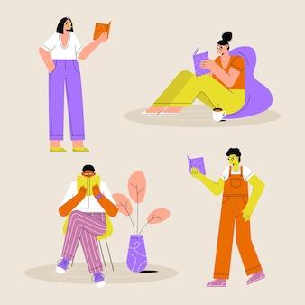 Jovens lendo conjunto de ilustração
